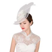 BININBOX Womens Crystal Pearl Gauze Top Hat Fascinator Bridal Wedding Headpiece
