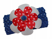 WD2U Deluxe Red White Blue Star Patriotic July 4th Crochet Hair Bow Headband USA