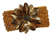 WD2U Girls Holiday Sequin Flower Hair Bow Stretch Crochet Headband M Gold 1065