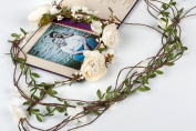 Valdler Nature Double Row Vines Garland Flower Crown Headband for Wedding Festivals White