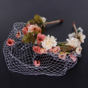 Valdler Handmade Flowers Adorn Veil Headband Bridal Wedding Accessories Pink