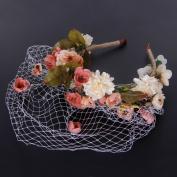 Valdler Handmade Flowers Adorn Veil Headband Bridal Wedding Accessories Pink