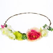 AWAYTR BOHO Women's Cherry Flower Crown Beach Wedding Headband Hair Wreath Multi Colour-D