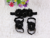 CellElection Baby Girl's Beautiful Flower Headbands and Baby Foot Wearing Flower set