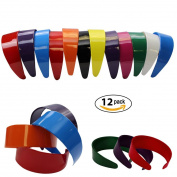 5.1cm Wide Headbands - Hard Headband W/ Inner Teeth - 12 pieces CoverYourHair®