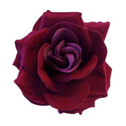 Dark Red Burgundy Large Clip On Flamenco Gothic Day Of Dead Hair Rose Flower