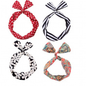 Set of 4 Multi Function Mixed Design Wired Twist Bow Hair Tie Headband Women Girl's Bowknot Hair Accessories Styler Hair Band Bands Scarf Wrap Hoop Accessory