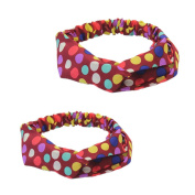 Pair(2pcs) Women Yoga Polka Dots Print Twisted Knotted Hair Band Wrap Headband