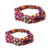 Pair(2pcs) Women Yoga Polka Dots Print Twisted Knotted Hair Band Wrap Headband