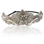 Bridal White Pearl Tiara and Rhinestone Diamond Adjustable Headband for Wedding Bride or Bridesmaid Gift