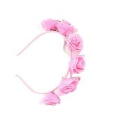 Kids Rose Pink hair hoop Hair Wreath Floral Crown Garland for Wedding Festival
