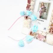 Kids Rose Blue hair hoop Hair Wreath Floral Crown Garland for Wedding Festival