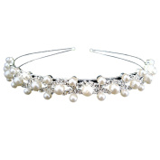 Trimming Shop Women's Plated Crystal And Pearl Wedding Bridal Headband One Size Silver