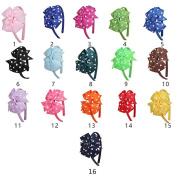 16 Colours Dot 13cm Girls Women Big Bows Hair Bowknot Hair Hoop Tie Headband Hair wear Hair Clasp