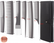 6pcs Professional Salon Hair Cutting Comb Set, Stylist Hairdresser Barber Comb Set, Stylist Carbon Comb Set