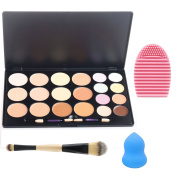 EVERMARKET 20 Colours Contour Kit Contour and Highlighting Contour Palette + 1PC Silica MakeUp Washing Brush