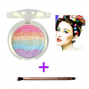 Makeup Rainbow Highlighter Eyeshadow Palette Baked Blush Terrece Handmade Face Shimmer Powder Colour #1 with Eyeshadow Brush