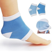 Makhry 2 Pairs Moisturising Silicone Gel Heel Socks for Dry Hard Cracked Skin Moisturising Open Toe Comfy Recovery Socks(Blue & White)