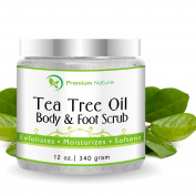 Tea Tree Oil 100% Natural Body & Foot Scrub with Dead Sea Salt and Essential Oils- Anti-Fungal, Exfoliates & Moisturises, 350ml, By Premium Nature