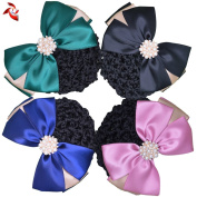 Xuanli® 4 Pcs Womens Hair Bun Cover Barrette Bow Snood Net Hair Clip Accessories Professional headdress flower