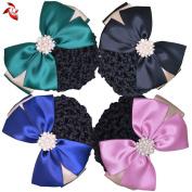 Xuanli® 4 Pcs Womens Hair Bun Cover Barrette Bow Snood Net Hair Clip Accessories Professional headdress flower
