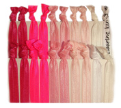 "Hair Ties Ponytail Holders - 20 Pack ""Pink Ombre"" No Crease Ouchless Elastic Styling Accessories Pony Tail Elastics Holder Ribbon Bands - By Kenz Laurenz"