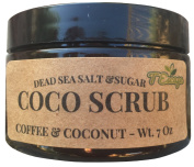 100% NATURAL - Made in USA - Coffee, Coconut, Sugar & Dead Sea Salt Scrub - Sensitive Skin -Cruelty FREE - AHA Rich, Moisturising, Anti cellulite, Exfoliating. VISIBLE DIFFERENCE OR MONEY BACK