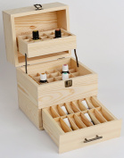 Wooden Essential Oil Box Expanding Organiser - Stores Up To 45 Bottles & 14 Roll-Ons