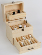 Generic Wooden Essential Oil Box Expanding Organiser - Stores Up To 45 Bottles & 14 Roll-Ons