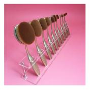 Fullkang Clear Acrylic 10 Lattices Cosmetic Shelf 10pcs Brush Storange Place Organiser