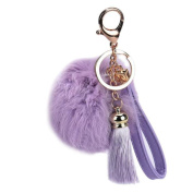 Voberry® Keychain with Tassels Plush Cute Fur Key Chain for Car Key Ring or Bags