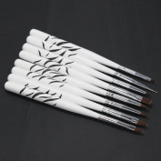 8 PCS Acrylic Nail Art Brush Cuticle Pusher Dotting Painting Drawing Pens Tool Set Zebra Black WhiteColor