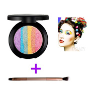 Makeup Rainbow Highlighter Eyeshadow Palette Baked Blush Terrece Handmade Face Shimmer Powder Colour #3 with Eyeshadow Brush