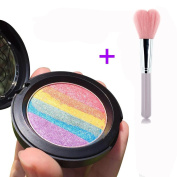 Makeup Rainbow Highlighter Eyeshadow Palette Baked Blush Terrece Handmade Face Shimmer Powder Colour #3 with Blusher Brush
