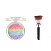 Handmade Baked Rainbow Shimmer Bronzer Highlighter Blusher Eyeshadow 3 in 1 Makeup Palette with Blending Flat Contour Blush Brush Foundation Makeup Brush