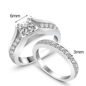 Cool7 2Pcs/Set Wedding Engagement Ring Women Rings Weddings & Events Classic AAA Cubic Zirconia Silver Rings Set