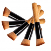Cool7 5PC Flat Angled Wooden Buffer Liquid Foundation/Powder/Contour/Bronzer Makeup Brush