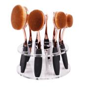 Elevin(TM) 10 Hole Oval Makeup Brush Holder Drying Rack Organiser Cosmetic Shelf Tool