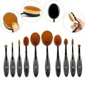 SwanMyst Premium Soft Synthetic Fibre Oval Toothbrush Makeup Brush Set for Foundation Concealer Cheek Blush Powder Eye Shadow Liner Eyebrows Lip
