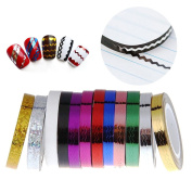 S & C 12 Colours Nail Art Rolls Chevron Tape Decoration Sticker