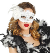 Women Fancy Dress Carnival Party Venetian Masquerade White Feather Rose Eyemask