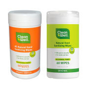 Clean Well Orange Vanilla All-Natural Hand Sanitising Wipes and Clean Well Original All-Natural Hand Sanitising Wipes Bundle, Alcohol Free, 40 Wipes each, 5 x 8 in (12.7 x 20.3 cm) Each