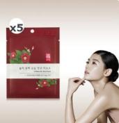 [illi] Camellia Oil nourishing Facial mask Sheet (5EA)_Hanbang Nutrition Helps Repair Sun Damage, Wrinkles & Fine Lines