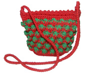 Strawberry Cute Crochet Bag , Strawberry Pattern Tote Bag Cross shoulder Bag (Zipper)