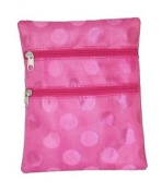 Metropolitan Pink Polka Dot print GO TO Purse 3 zipper pockets for easy storage long cross over body strap purse measures 20cm x 18cm