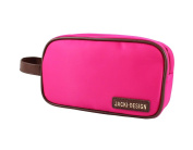 Jacki Design Essential Double Zipper Travel Cosmetic Bag with Handle - Hot Pink
