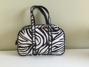 Zebra Print Nylon Cosmetic Bag with Handles - Black/White