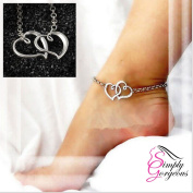 Double Entwined Heart Ankle Chain Anklet