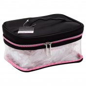 STYLEWURKSTM Clear Cosmetic Train Case with Black and Pink Trim