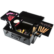 Docooler Lockable Cosmetic Organiser Box Foldable Makeup Train Storage Case Holder 2 Layers